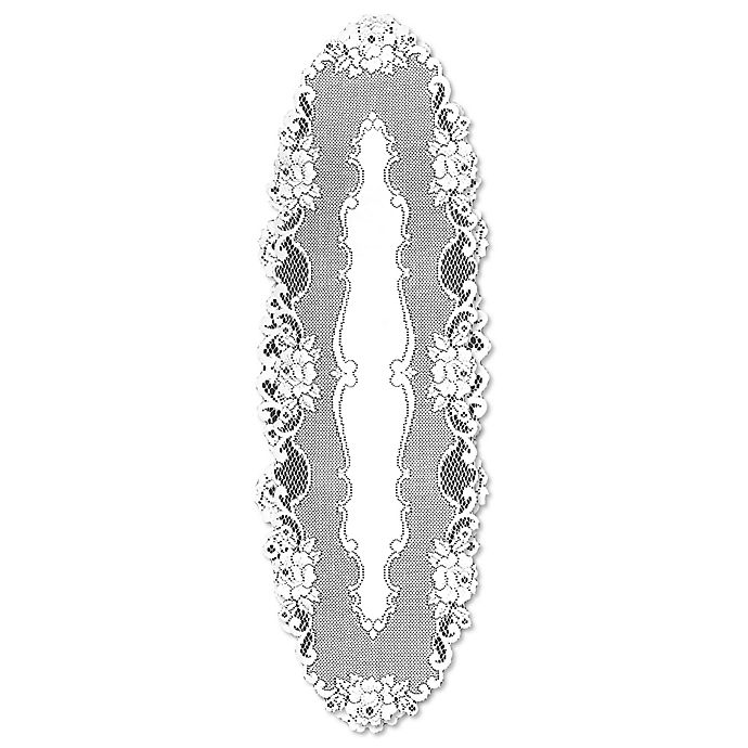 Alternate image 1 for Heritage Lace® Vintage Rose 48-Inch Table Runner in White
