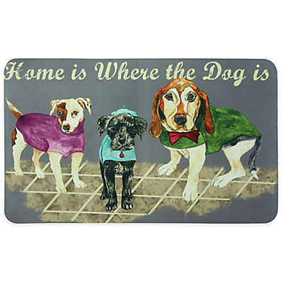 """Bacova """"Home is Where the Dog is"""" 17.5-Inch x 29-Inch Kitchen Mat in Grey"""