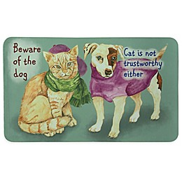 """Bacova """"Beware of Dog and Cat"""" 17.5-Inch x 29-Inch Multicolor Kitchen Mat"""