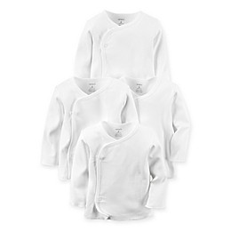 carter's® Preemie 4-Pack Long-Sleeve Side-Snap T-Shirts in White