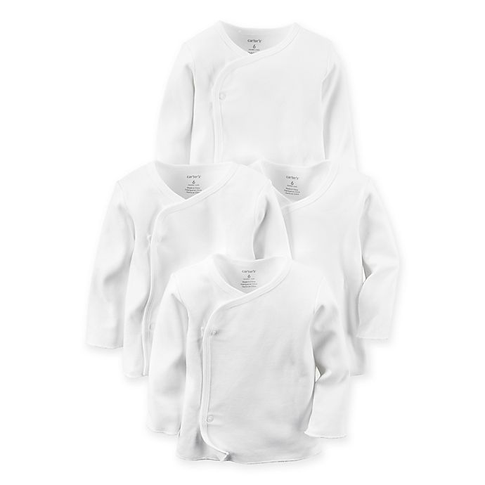 Alternate image 1 for carter's® Preemie 4-Pack Long-Sleeve Side-Snap T-Shirts in White