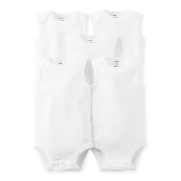 Alternate image 1 for carter's® Sleeveless 5-Pack White Bodysuits - 18 Months