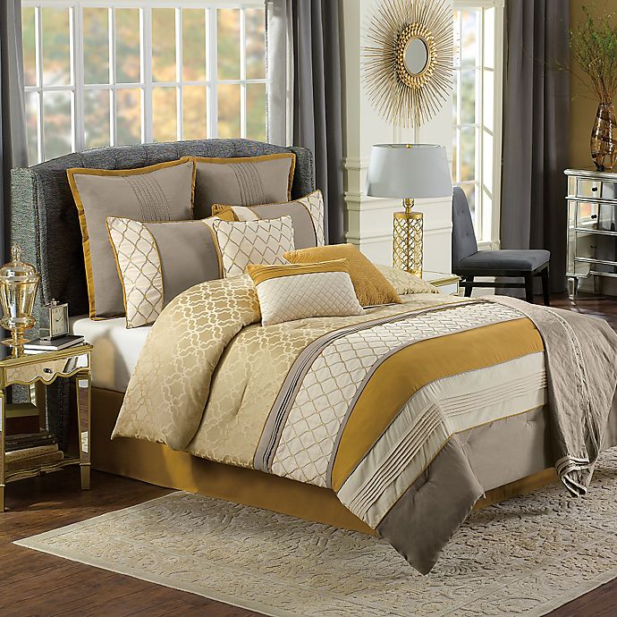 d09be83e03 Nora 10-Piece Comforter Set in Gold/Taupe   Bed Bath & Beyond