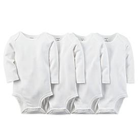 carter's® 4-Pack White Long Sleeve Bodysuits