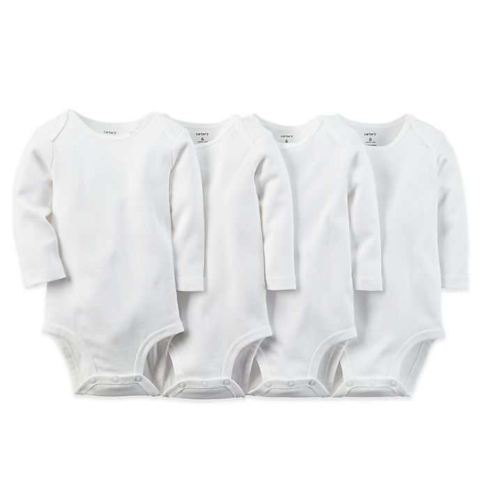 Alternate image 1 for carter's® 4-Pack Size 6 Months White Long Sleeve Bodysuits