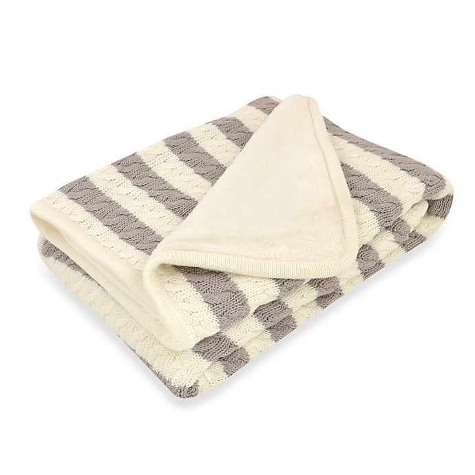 Alternate image 1 for Just Born® Awning Stripe Cable Knit Blanket in Grey/White