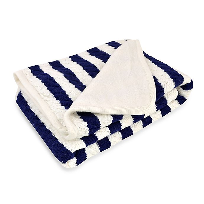 Alternate image 1 for Just Born® Awning Stripe Cable Knit Blanket in Navy/White