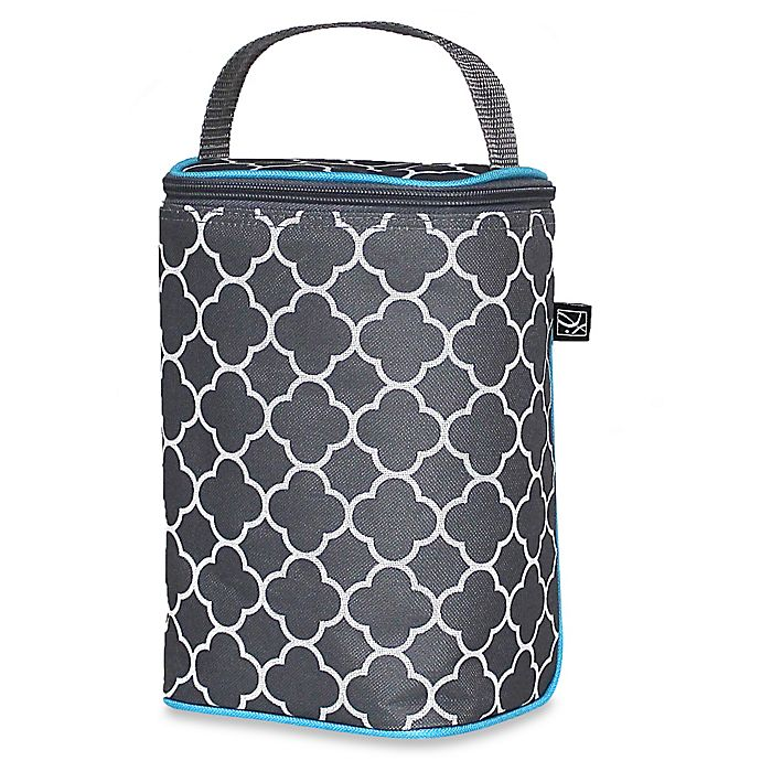 Alternate image 1 for J.L. Childress Tall TwoCOOL™ Clover Insulated 2-Bottle Cooler in Grey/Teal