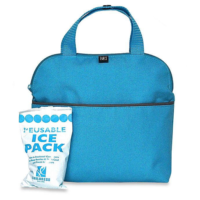 Alternate image 1 for J.L. Childress MaxiCOOL™ Insulated 4-Bottle Cooler Tote in Teal/Grey