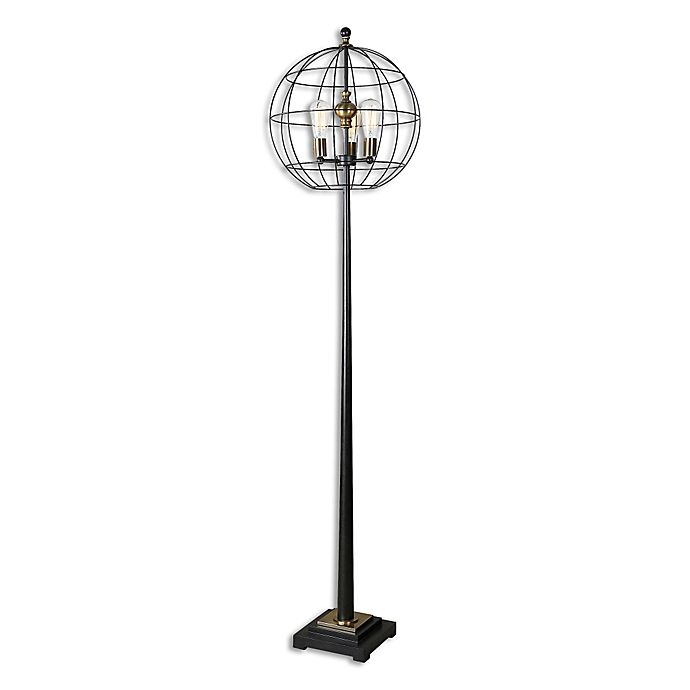 Alternate image 1 for Uttermost Palla Floor Lamp in Aged Black with Cage Shade