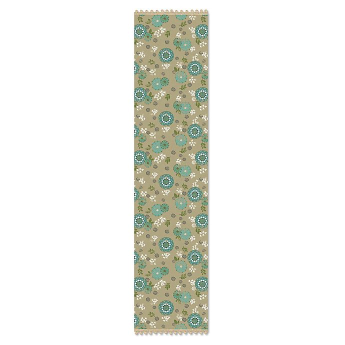 Alternate image 1 for Heritage Lace® Zinnia 14-Inch x 60-Inch Table Runner in Green