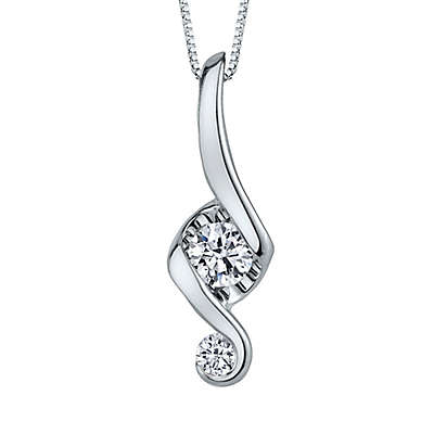 Juno Lucina 14K White Gold and Diamond 18-Inch Chain Love and Protection Pendant Necklace