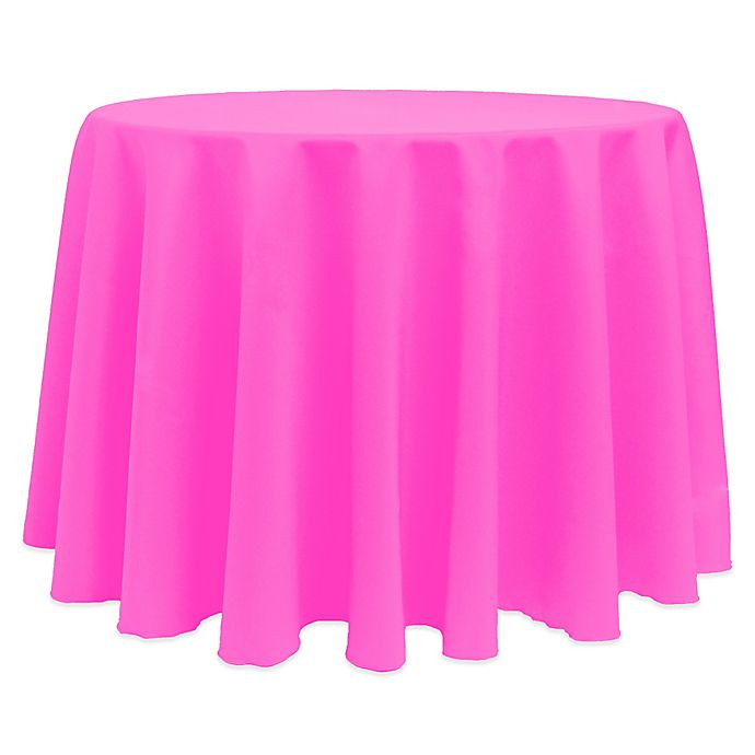 Alternate image 1 for Basic 132-Inch Round Tablecloth in Neon Pink