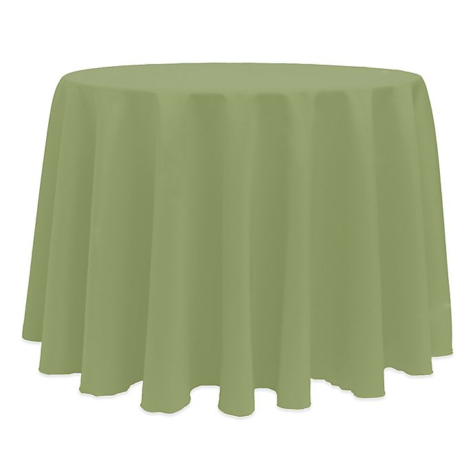 Alternate image 1 for Basic 132-Inch Round Tablecloth in Army Green