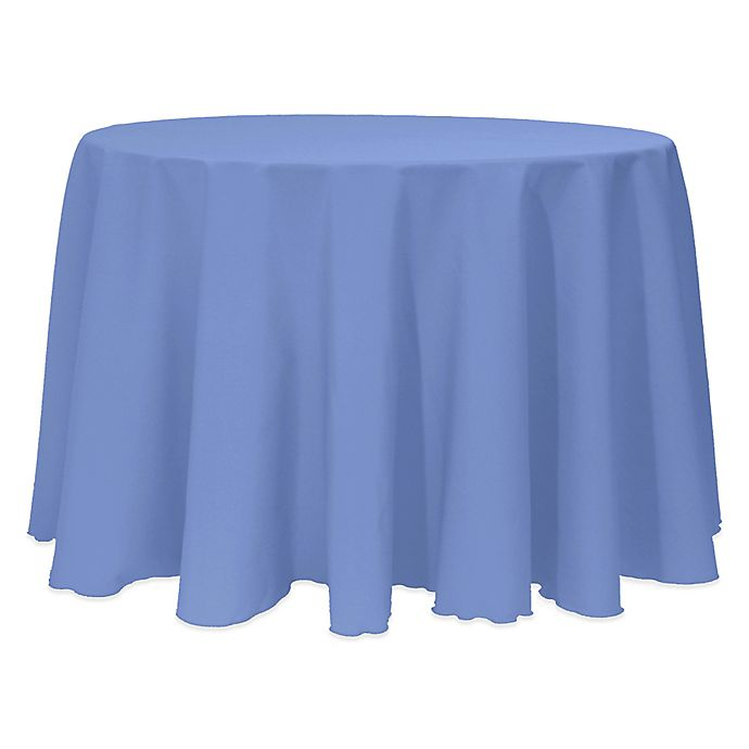 Alternate image 1 for Basic 132-Inch Round Tablecloth in Periwinkle