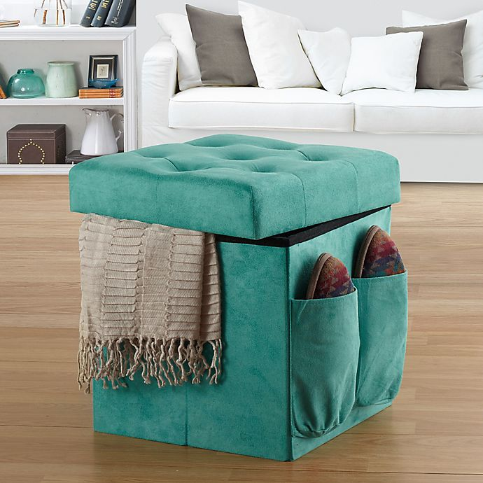 Alternate image 1 for Anthology™ Sit & Store Folding Ottoman in Tufted Aqua