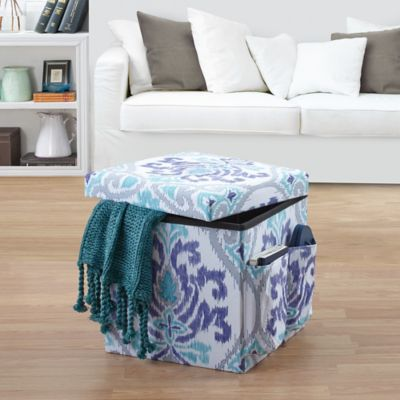 Anthology Jolie Folding Ottoman In Blue Bed Bath And