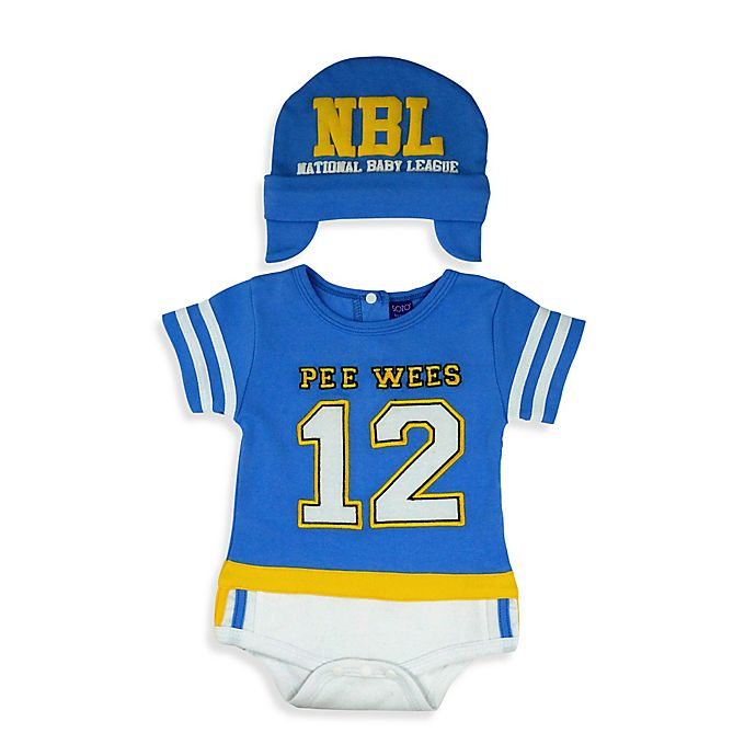 Alternate image 1 for Sozo® Size 0-3M 2-Piece Football Bodysuit and Cap Set in Blue