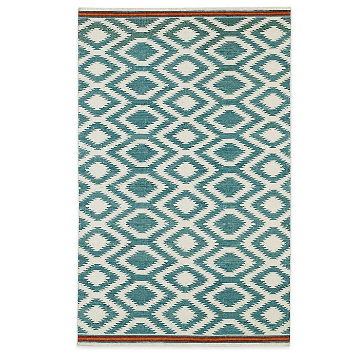 Alternate image 1 for Kaleen Nomad Zig-Zag 8-Foot x 10-Foot Rug in Turquoise
