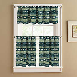 Bear Trail Lined Window Curtain Tier Pair in Green