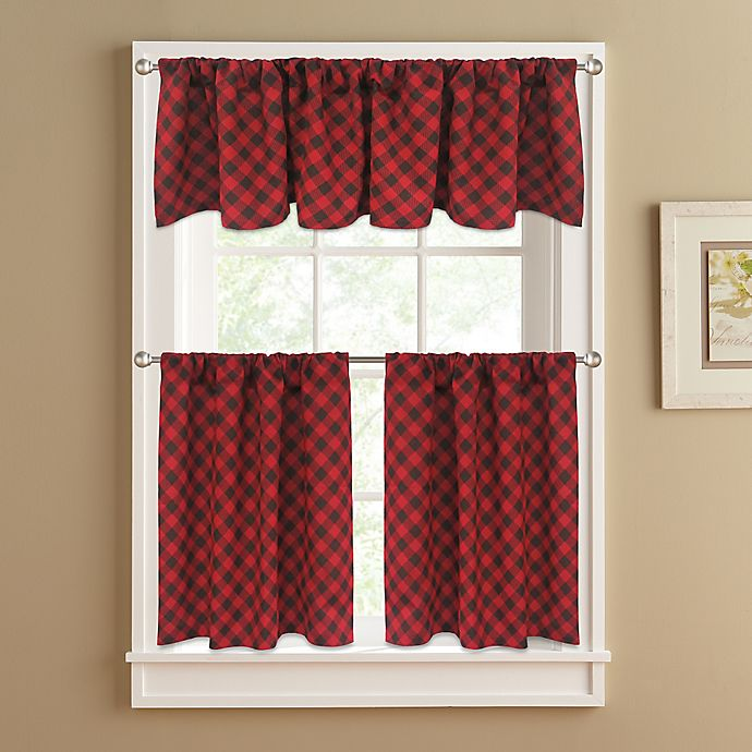 Alternate image 1 for Lumberjack 24-Inch Window Curtain Tier Pair in Red