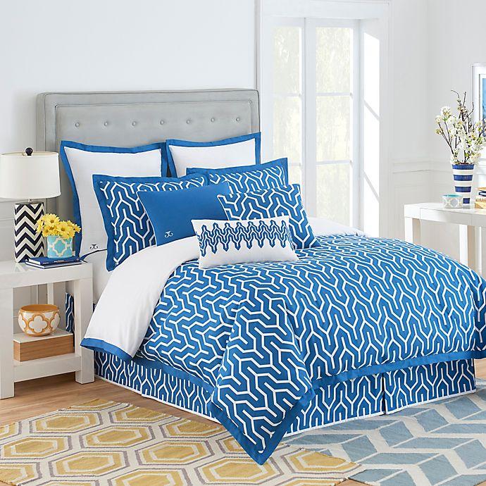 Alternate image 1 for Jill Rosenwald Plimpton Flame Reversible Comforter Set in Blue