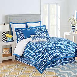 Jill Rosenwald Plimpton Flame Reversible Comforter Set in Blue