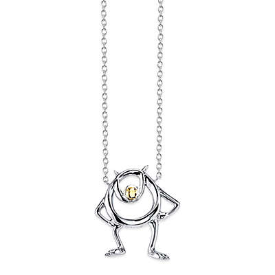 Disney® Monsters, Inc. Sterling Silver 10K Yellow Gold Mike Wazowski Pendant Necklace