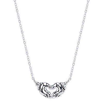 Disney® Mickey Mouse Sterling Silver 18-Inch Chain Hand Heart Pendant Necklace