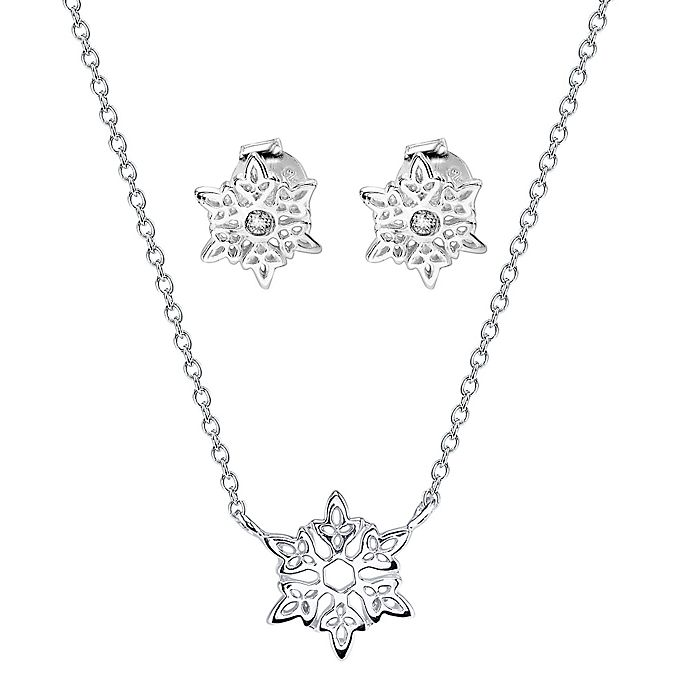Disney Frozen Sterling Silver Snowflake Pendant Necklace And Cubic Zirconia Earring Set