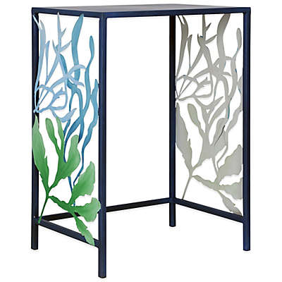 Shoal Metal Laser Cut Coral Side Table in Blue
