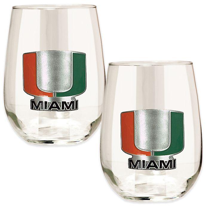 Alternate image 1 for University of Miami Stemless Wine Glass (Set of 2)