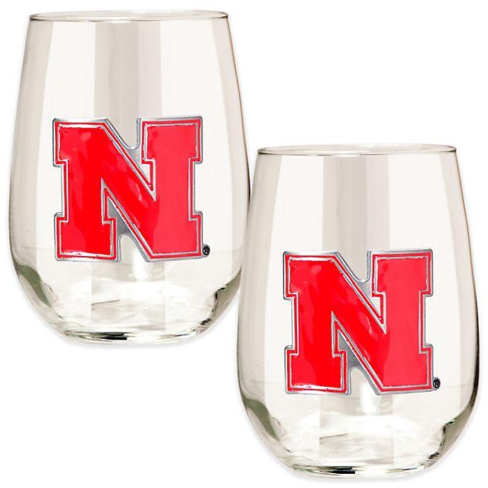 Alternate image 1 for University of Nebraska Stemless Wine Glass (Set of 2)