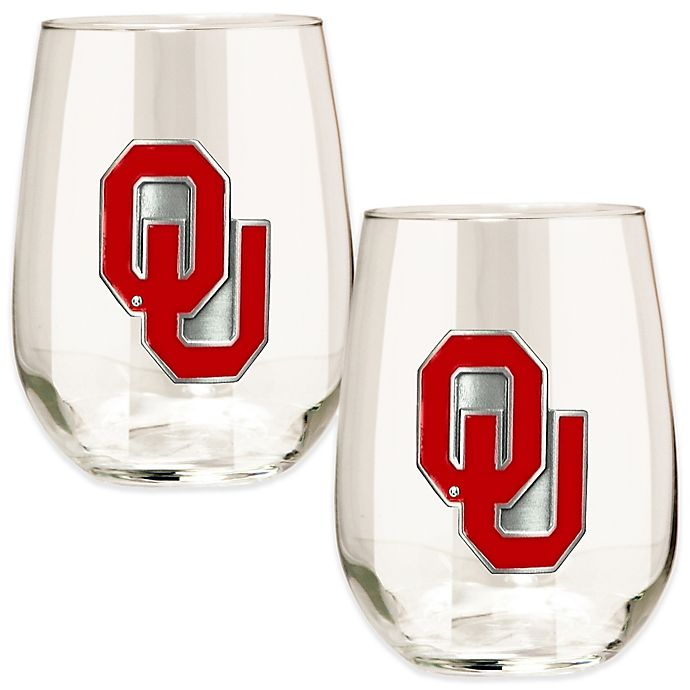 Alternate image 1 for University of Oklahoma Stemless Wine Glass (Set of 2)