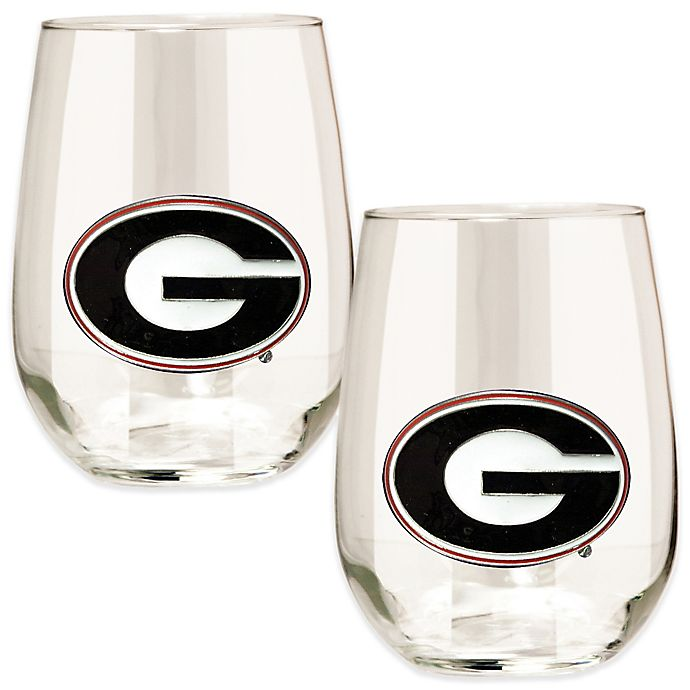 Alternate image 1 for University of Georgia Stemless Wine Glass (Set of 2)