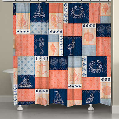 Laural Home® Coral and Navy Coastal Shower Curtain