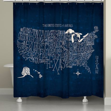 Laural Home 174 Us Map Blueprint Shower Curtain In Blue Bed