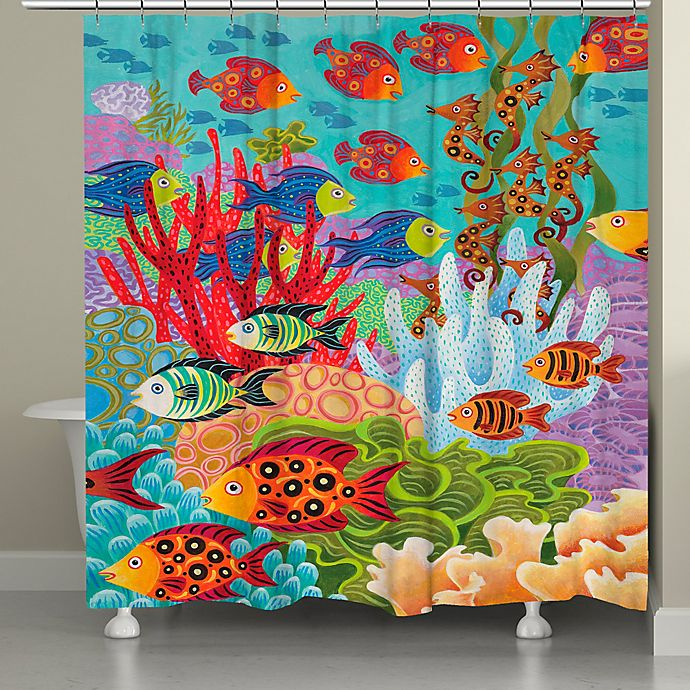 Alternate image 1 for Laural Home® Fish in the Hood Shower Curtain