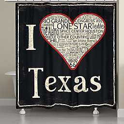 Laural Home® I Love Texas Shower Curtain in Black