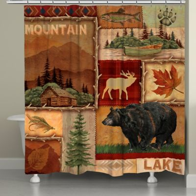 Laural HomeR Lodge Collage Shower Curtain In Brown