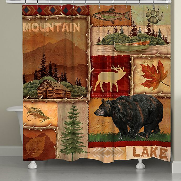 Alternate image 1 for Laural Home® Lodge Collage Shower Curtain in Brown