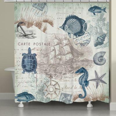 Laural HomeR Seaside Postcard Shower Curtain