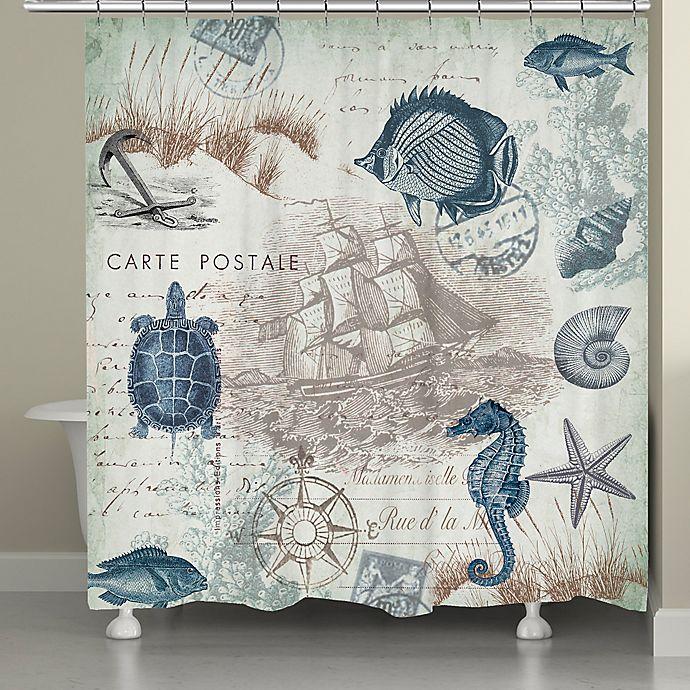 Alternate image 1 for Laural Home® Seaside Postcard Shower Curtain