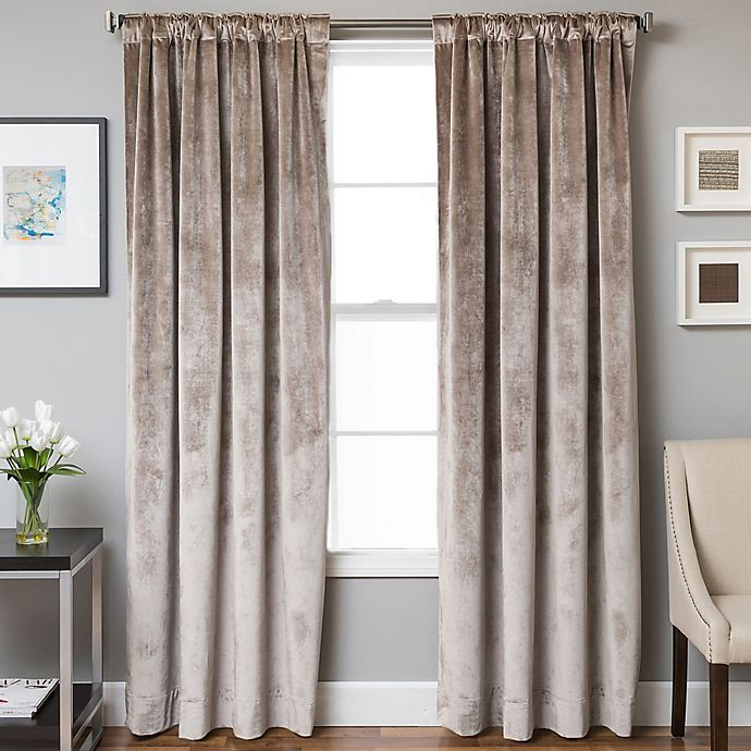 Alternate image 1 for Velvet Rod Pocket/Back Tab Lined Window Curtain Panel