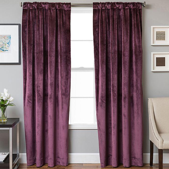 Alternate image 1 for Velvet Rod Pocket/Back Tab 108-Inch Lined Window Curtain Panel in Plum