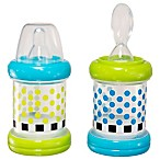 Sassy® 2-Pack 4 oz. Baby Food Nurser Bottles in Green/Blue