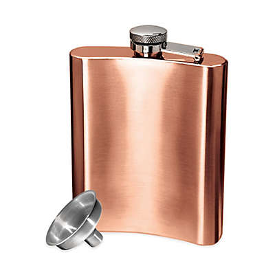 Oggi™ Copper-Plated Stainless Steel Hip Flask with Funnel