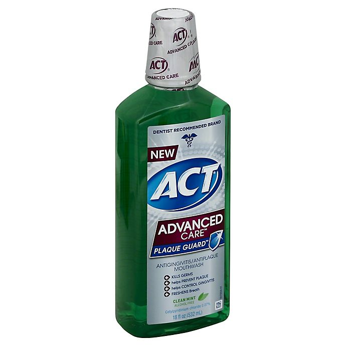 Alternate image 1 for ACT® Advanced Care™ Plaque Guard™ 18 oz. Mouthwash in Clean Mint