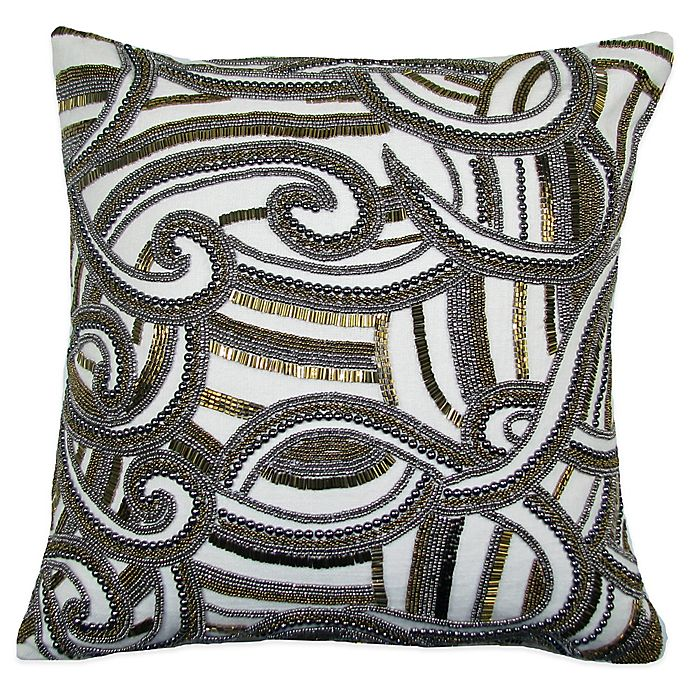 Charisma Swirl Square Beaded Throw Pillow In Gold Silver