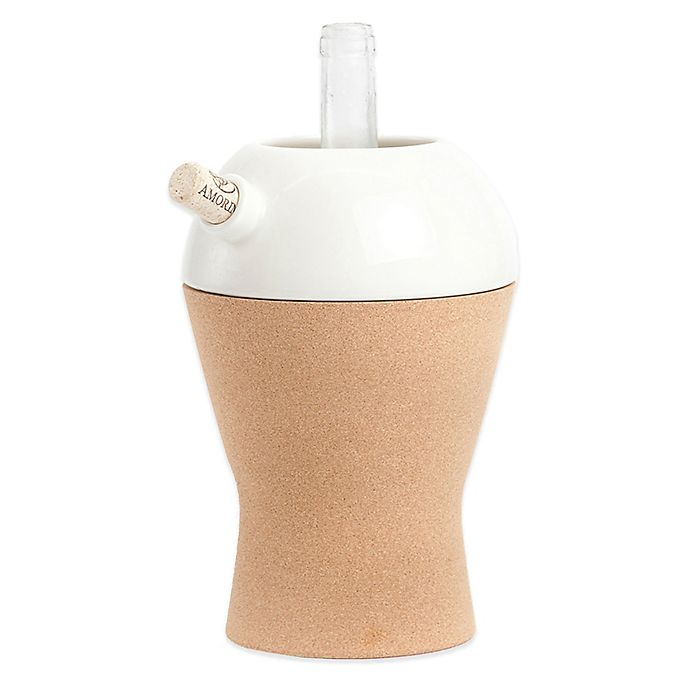 Alternate image 1 for Amorim Cork Ceramic 1-Bottle Keep it Cool Wine Cooler in White
